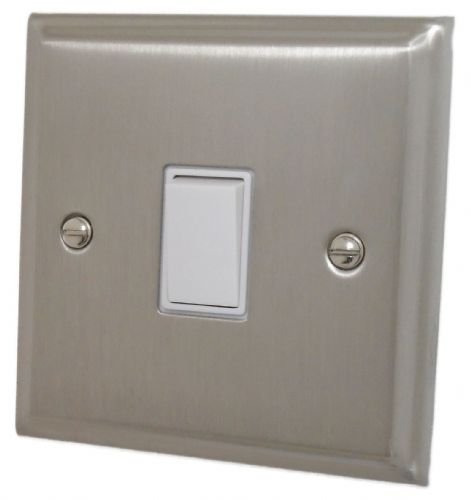 G&H DSN1W Deco Plate Satin Nickel 1 Gang 1 or 2 Way Rocker Light Switch